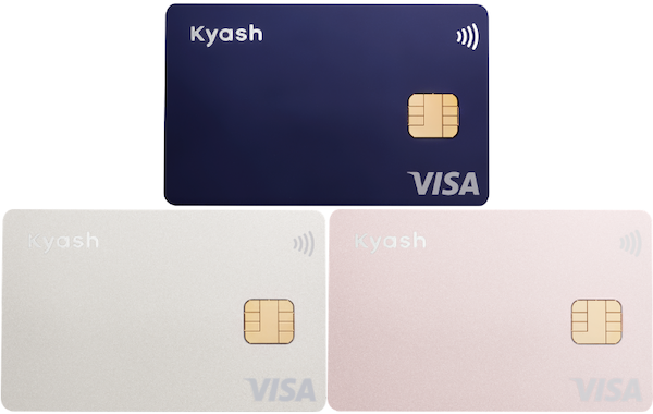 Kyash Cardは、ネイビー・シルバー・ピンクの3種類、Visaタッチ決済にも対応